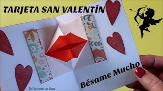 Tarjeta para San Valentín, Tarjeta Besos, Manualidades para San Valentín