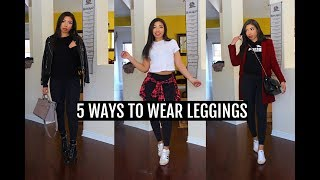 HOW TO STYLE LEGGINGS | 5 CUTE & COMFY SPRING OUTFIT IDEAS - Lookbook + Airport Outfits