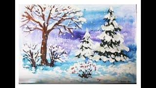 Смотреть онлайн Урок поэтапного рисования пейзажа для детей 5-8 лет