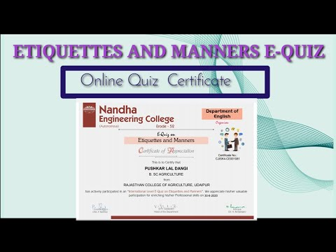 ETIQUETTES AND MANNERS , E-QUIZ CERTIFICATE ... - YouTube