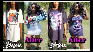 Easy DIY Oversized Tshirt To Dress | #WalmartChallenge | Daddy Tee To #InstaBaddie Tee