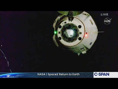 NASASpaceXCrew Return Dragon Undocking from International Space Station