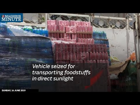 Vehicle seized for transporting foodstuffs in direct sunlight
