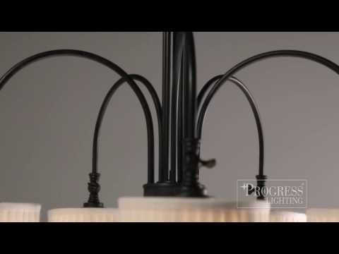 Video for Clayton Espresso Two-Light Chandelier with Cream Pleated Linen Shade