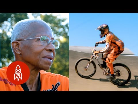 70 year old female BMX bicycle racer still going strong after 30 years in the sport!