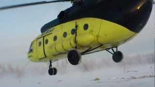 Rise UTair helicopter MI-8 in the north Взлёт вертолёта UTair МI-8 на севере