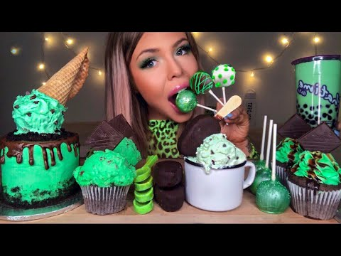 ASMR MINT CHOCOLATE CHIP ICE CREAM, SPOONS, TAPIOCA, ICE CREAM CAKE, BUBBLE TEA, CAKE POP MUKBANG 먹방
