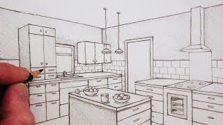 How To Draw A Kitchen Room In Two-Point Perspective: Time Lapse
