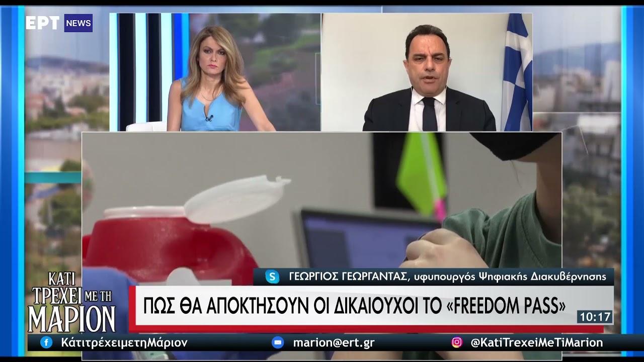 Γ. Γεωργαντάς: Εως τις 20/07 ανοίγει η πλατφόρμα για την ψηφιακή Κάρτα Ελευθερίας | 10/07/21 | ΕΡΤ