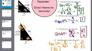 Unit 6 Video 3  Special Right Triangles With Applications