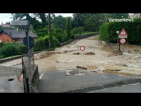 Maltempo sul Varesotto: torrenti straripati e strade allagate