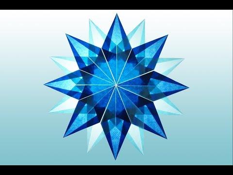 DIY: 16 Zackiger blauer Stern aus Transparentpapier basteln
