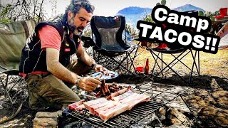 AMAZING TACOS & RIBS - CAMP Cooking Mexican Style In The Woods With My Friends