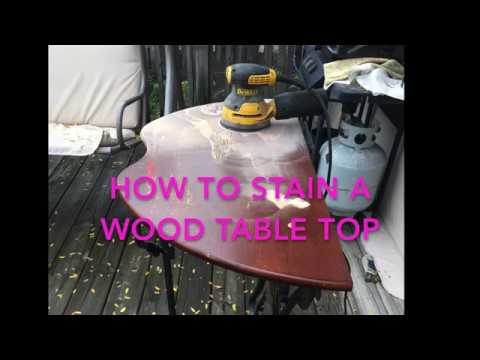 HOW TO STAIN A WOOD TABLE TOP with (Stain + Polyurethane mix)