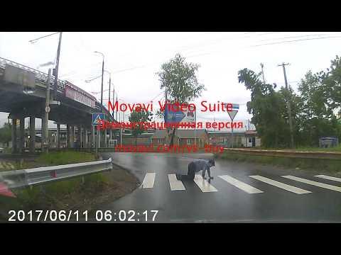 Пьяный пешеход не может переползти дорогу в Хабаровске
