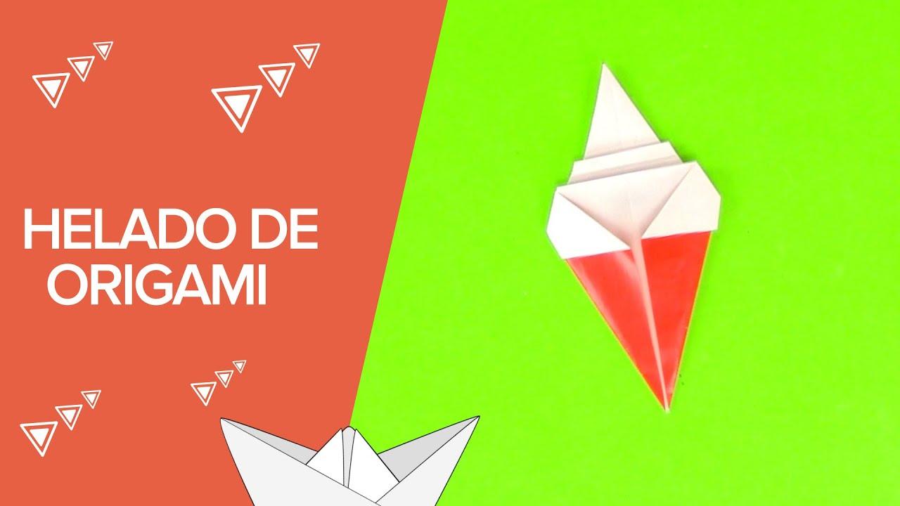 Cómo hacer un helado de origami paso a paso | Papiroflexia para niños