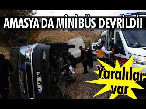 Amasya'da minibüs devrildi! Yaralılar var