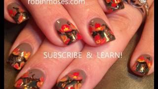 DIY Fall Nails   Poppy Nail Art Design Tutorial