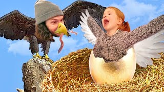 LEARNING TO FLY!!  Adley finds Hidden Baby Eagle Eggs in Backyard! Animal Makeover for new VR game!