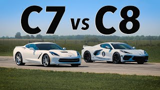 C8 Corvette vs C7 Corvette   Drag & Roll Race Comparison