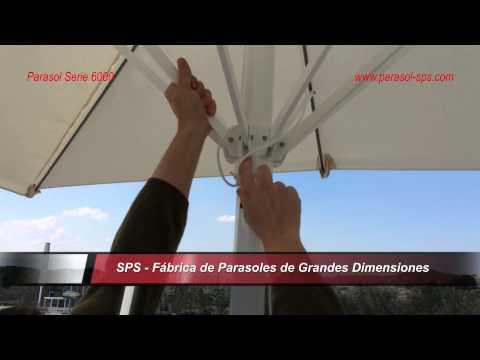 Parasol SPS Serie 6000. Resistente hasta 3,5m, fácil desmontaje
