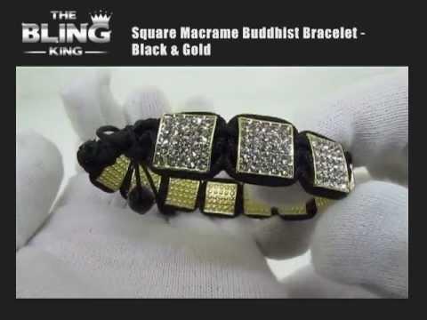 Square Macrame Buddhist Bracelet - Black & Gold - Iced Out - Hip Hop Bling