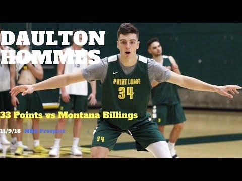 NBA Prospect Daulton Hommes SCORES 33 POINTS vs Montana Billings | Point Loma Sea Lions | 11/9/18 |