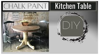 How To Chalk Paint Kitchen Table With A White Wash For Natural Weathered Pickled Wood Look