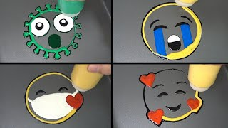 Emoji Pancake art   Virus, Crying face, Face with a mask on, Happy face