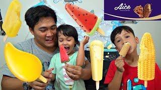 Es Krim Aice ❤ Ice Cream Unik Rasa Buah Semangka, Mangga, Jagung, Nanas