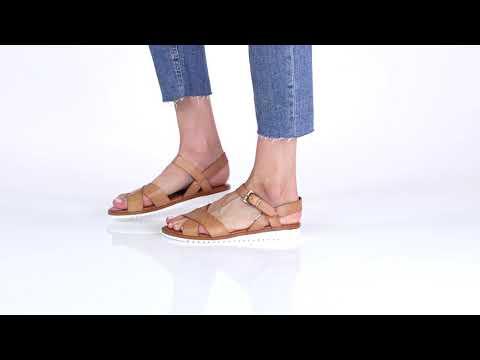 Beige Sandale À Cuir Crantée Semelle En ywm0POvN8n