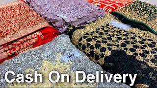 Designer Saree 2000 वाली 200 में। Cash On Delivery   Baby Pink , Black Shades Net Saree Collection