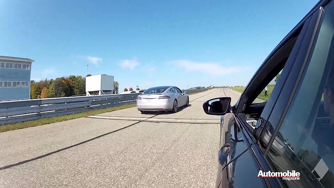 The Electric Tesla S Can Outdrag A BMW M5