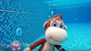 Kukuli havuzda yüzüyor - Rahatlatıcı ve eğlenceli yüzme videosu - Kukili Tinky Minky ve Niloya yüzdü