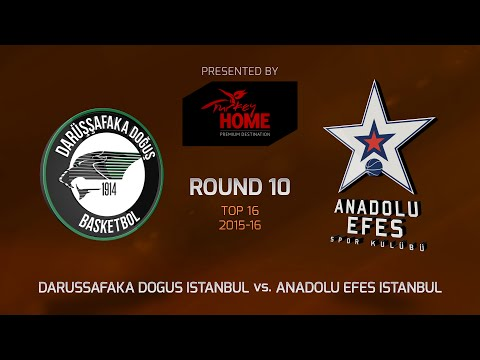 Highlights: Top 16, Round 10, Darussafaka Dogus Istanbul 68-72 Anadolu Efes Istanbul