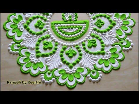 Beautiful rangoli design for new year using 2 colours l Karthigai Deepam rangoli l Rangoli designs