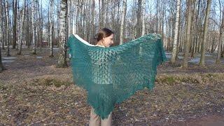 Вязание спицами: Ажурная шаль с растительным узором.