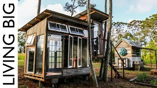 Tiny Home With Luxury Bath-House Made From Recycled Windows - Video Youtube
