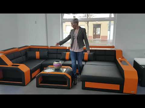Sofa Dreams Showroom Sofa Wohnlandschaft Arezzo in schwarz orange
