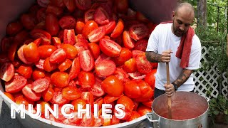 Making Sauce from 600lbs of Tomatoes with Frank and the Pinello Family