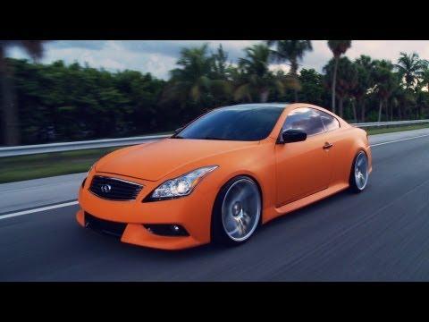 """Matte Orange Infiniti G37s on 20"""" Vossen VVS-CV7 Concave Wheels / Rims"""