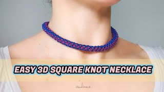 DIY Easy 3D Square Knot Macrame Necklace | Macrame Necklace Tutorial | DIY Macrame Jewelry