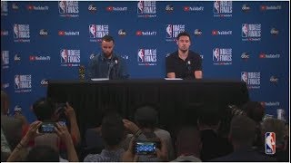 Stephen Curry and Klay Thompson    NBA Finals Game 2 Postgame Interview
