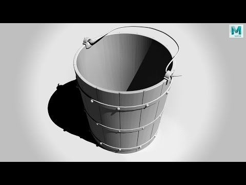 Maya 2017 tutorial : How to model a simple wooden bucket