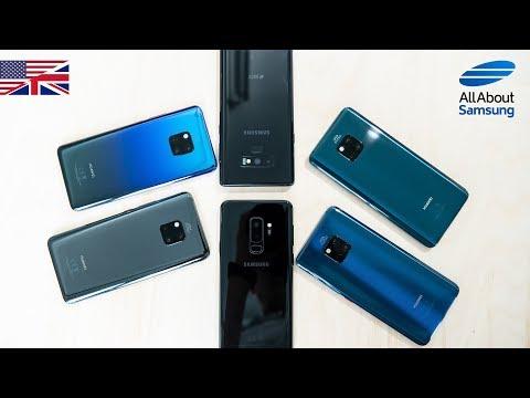 Huawei Mate 20 Pro vs Samsung Galaxy Note9 & Galaxy S9 Plus comparison english 4k