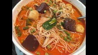 Qhia Ua qhaub poob kua ntses How to make fish curry Noodle,Khao Poon Num Pha 2/15/2018