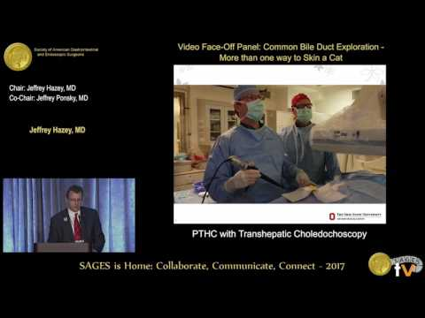PTHC with transhepatic choledochoscopy from the SAGES Video