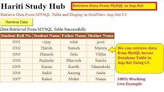 #2 Retrieve Data From MySQL Database Using Asp.Net C#   Hindi   Free Online Class   MySQL Server