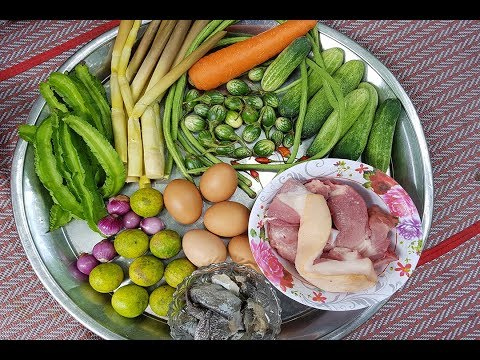 Awesome Cooking Steamed Pork with Egg&Vegetable Recipes -Cooking Pork Recipes -Village Food Factory