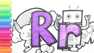 Alphabet Coloring Pages For Kids| How To Read And Spell R Words|Learn Colors 알파벳그리기